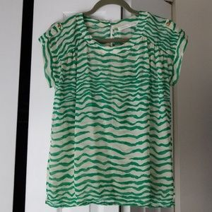 Green and white striped blouse. Opens in back.